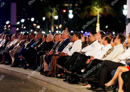 Cuban President Miguel Diaz-Canel (C) attends a gala outside the National Capitol Building during the celebration of the 500th anniversary of Havana's foundation, in Havana, Cuba, 16 November 2019. Cuba celebrated 500 years since the founding of the city of San Cristobal de La Habana by Spaniard Diego Velazquez de Cuellar in 1519.