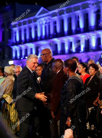 Cuban President Miguel Diaz-Canel (L) greets guests at a gala outside the National Capitol Building during the celebration of the 500th anniversary of Havana's foundation, in Havana, Cuba, 16 November 2019. Cuba celebrated 500 years since the founding of the city of San Cristobal de La Habana by Spaniard Diego Velazquez de Cuellar in 1519.