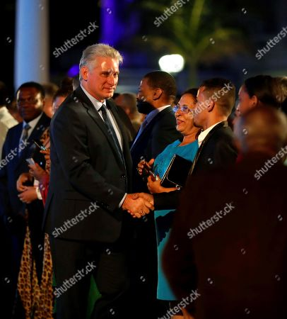Cuban President Miguel Diaz-Canel (C-L) greets guests at a gala outside the National Capitol Building during the celebration of the 500th anniversary of Havana's foundation, in Havana, Cuba, 16 November 2019. Cuba celebrated 500 years since the founding of the city of San Cristobal de La Habana by Spaniard Diego Velazquez de Cuellar in 1519.