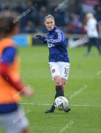 Stock Photo of Jane Goldman of Manchester United Women warming up before kickoff