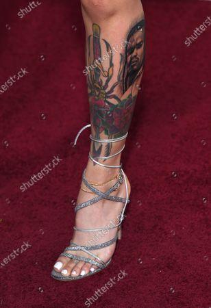Kehlani, shoe and tattoo detail