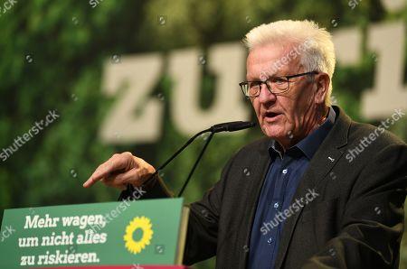 Baden-Wuerttemberg's State Premier Winfried Kretschmann speaks during the Party conference in Bielefeld, Germany, 16 November 2019. The German Greens meet from 15 until 17 November in Bielefeld.