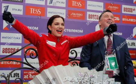 Canadian coach Brian Orser (R), and Evgenia Medvedeva reacts after her performing during a Ladies free Skating program at the 2019 Rostelecom Cup of Russia ISU Grand Prix of Figure Skating in Moscow, Russia, 16 November 2019.