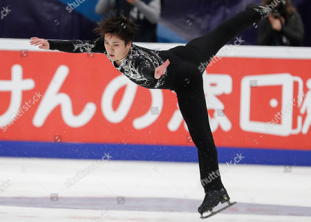 Shoma Uno of Japan performs during the Men?s Free skating  program at the 2019 Rostelecom Cup of Russia ISU Grand Prix of Figure Skating in Moscow, Russia, 16 November 2019.
