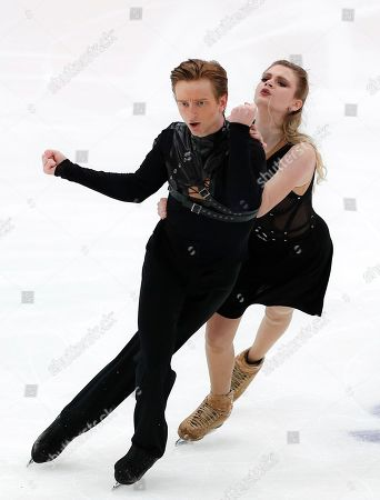 Stock Photo of Russia's Anastasia Skoptcova and Kirill Aleshin perfom during the free dance at the ISU Grand Prix of Figure Skating- Rostelecom Cup in Moscow, Russia