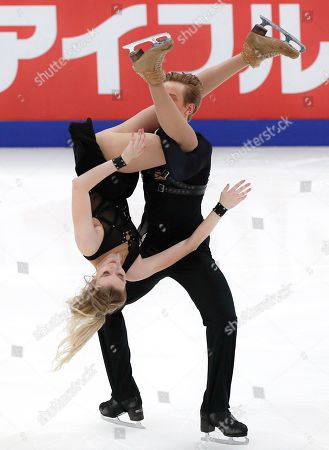 Russia's Anastasia Skoptcova and Kirill Aleshin perfom during the free dance at the ISU Grand Prix of Figure Skating- Rostelecom Cup in Moscow, Russia
