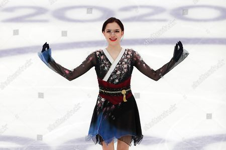 Russia's Evgenia Medvedeva reacts after performing her ladies free skating routine at the ISU Grand Prix of Figure Skating- Rostelecom Cup in Moscow, Russia
