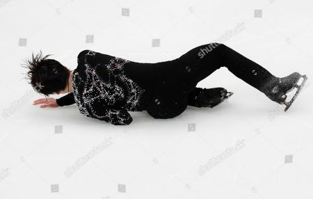 Japan's Shoma Uno falls during the men's free skating at the ISU Grand Prix of Figure Skating- Rostelecom Cup in Moscow, Russia