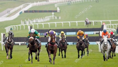 HAPPY DIVA (centre, Richard Patrick) beats BRELAN D'AS (left, Barry Geraghty) in The BetVictor Gold Cup Cheltenham