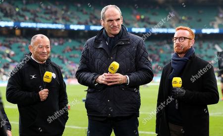 Barbarians vs Fiji. The Barbarians' Head Coach Eddie Jones, Ex England captain and coach Martin Johnson & Ben Ryan working for the BBC