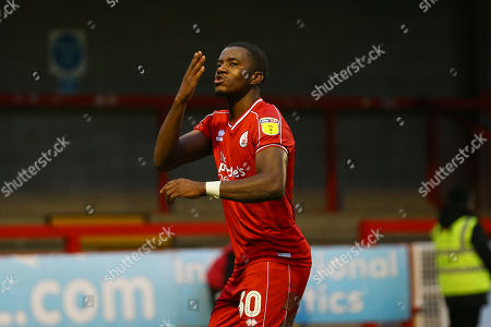 Bez Lubala of Crawley Town elebrates his goal in the first half from a penalty during Crawley Town vs Morecambe, Sky Bet EFL League 2 Football at Broadfield Stadium on 16th November 2019