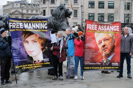 Protesters in Trafalgar Square demanding the release of Julian Assange and Chelsea Manning