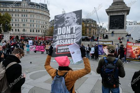 Editorial image of Free Julian Assange and Chelsea Manning protest, London, UK - 16 Nov 2019