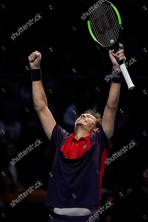 Stock Photo of France's Nicolas Mahut reacts after winning the mens doubles semi final match with his partner Pierre-Hugues Herbert of France against Lukasz Kubot of Poland and Marcelo Melo of Brazil at the ATP World Tour Finals tennis tournament in London, Britain, 16 November 2019.