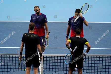 Stock Image of Colombia's Robert Farah and Juan Sebastian Cabal react during their mens doubles semi final match against Raven Klaasen of South Africa and Michael Venus of New Zealand  at the ATP World Tour Finals tennis tournament in London, Britain, 16 November 2019.