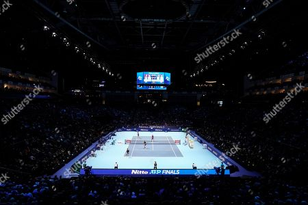 Stock Photo of A photograph showing the O2 Arena during the mens doubles semi final match between Colombia's Robert Farah and Juan Sebastian Cabal and Raven Klaasen of South Africa and Michael Venus of New Zealand  at the ATP World Tour Finals tennis tournament in London, Britain, 16 November 2019.