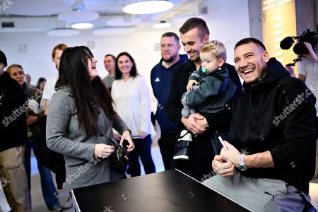 Danish soccer player Nicklas Bendtner poses with fans as he signs his new book 'Both Sides' in the FC Copenhagen fanshop at Oester Alle in Copenhagen, Denmark. 16 November 16, 2019. The book has been on sale since 05 November.
