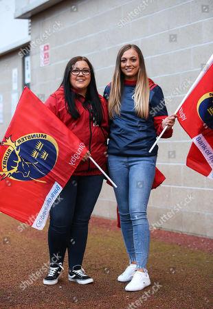 Stock Picture of Ospreys vs Munster. Munster fans Sinead O'Regan and Lauren Kelly