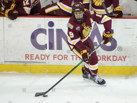 Minnesota Duluth's Justin Richards during an NCAA hockey game between the Miami Redhawks and the Minnesota Duluth Bulldogs at the Goggin Ice Center in Oxford, Ohio