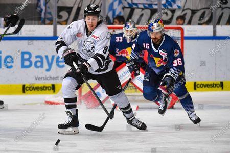 Brandon Buck #9 (IceTigers), Yannic Seidenberg (RB Muenchen), Red Bull Muenchen vs. Thomas Sabo Ice Tigers, Eishockey, DEL Hauptround 18. match day 15.11.2019.