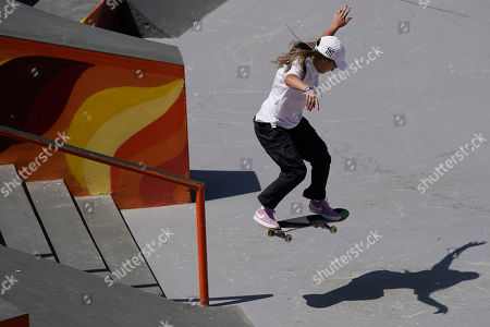 Pamela Rosa of Brazil competes during the Skate Park World Championship in Rio de Janeiro, Brazil