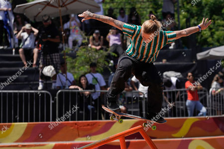 Stock Image of Candy Jacobs of Netherlands competes in the Skate Park World Championship in Rio de Janeiro, Brazil