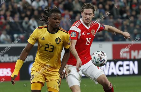 Michy Batshuayi (L) of Belgium in action against Aleksei Miranchuk (R) of Russia during the UEFA Euro 2020 Group I qualifying soccer match between Russia and Belgium at the Gazprom Arena in St. Petersburg, Russia, 16 November 2019.