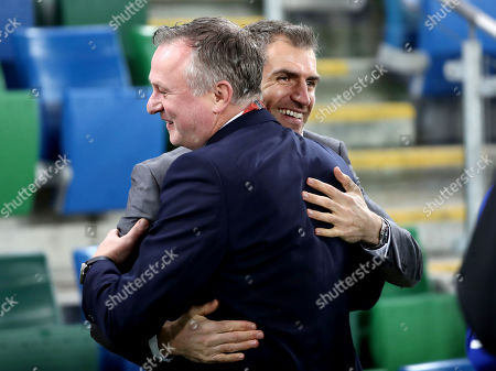 Northern Ireland vs The Netherlands. Northern Ireland manager Micheal O'Neil with Aaron Hughes