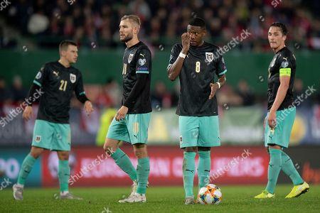 (L-R) Stefan Lainer, Konrad Laimer, David Alaba and Julian Baumgartlinger of Austria during the UEFA EURO 2020 group G qualifying soccer match between Austria and North Macedonia in Vienna, Austria, 16 November 2019.