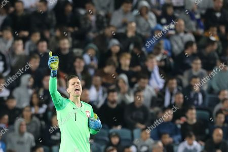 Poland's goalkeeper Wojciech Szczesny reacts during the UEFA EURO 2020 qualifying soccer match between Poland and Israel in Teddy Stadium, Jerusalem, Israel, 16 November 2019.