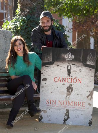 Stock Picture of Ruth Armas (L) and Maykol Hernandez (R) pose during the presentation of the Spanish-Peruvian film 'Cancion sin nombre' at the 45th Ibero-American Film Festival of Huelva, in Huelva, Andalucia, southern Spain, 16 November 2019.The film festival runs from 15 to 22 November.