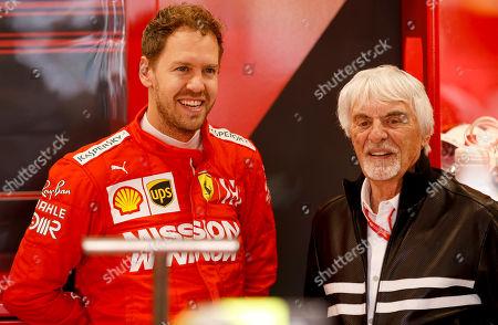 Stock Image of Motorsports: FIA Formula One World Championship 2019, Grand Prix of Brazil,   #5 Sebastian Vettel (GER, Scuderia Ferrari Mission Winnow) and Bernie Ecclestone (GBR),