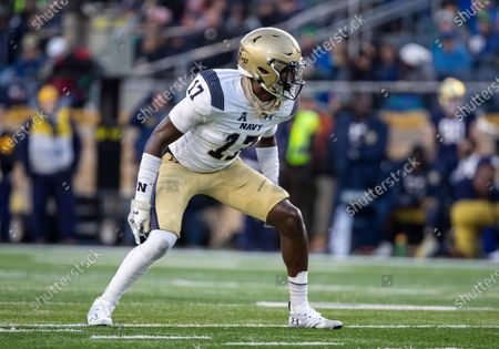 Navy linebacker Tony Brown (17) during NCAA football game action between the Navy Midshipmen and the Notre Dame Fighting Irish at Notre Dame Stadium in South Bend, Indiana. Notre Dame defeated Navy 52-20