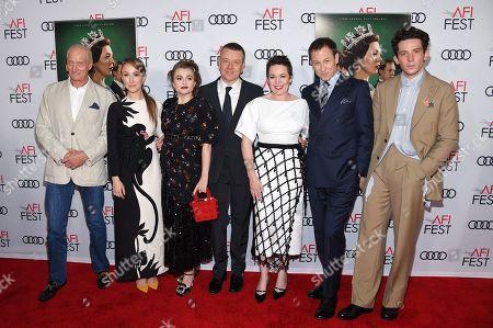 Charles Dance, Erin Doherty, Helena Bonham Carter, Peter Morgan, Olivia Colman, Tobias Menzies and Josh O'Connor