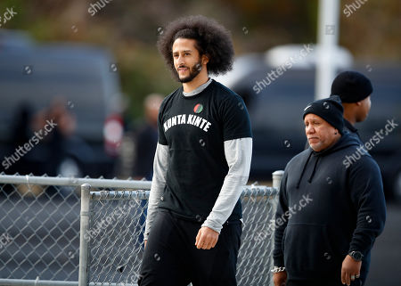 Free agent quarterback Colin Kaepernick arrives at a workout for NFL football scouts and media, in Riverdale, Ga