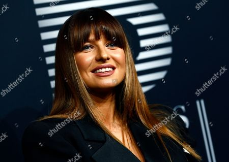 Social media star Anna Lewandowska poses on the black carpet for the 'Place to B' awards, in Berlin, Germany, 16 November 2019. The event awards the most important and influential German social media personalities.
