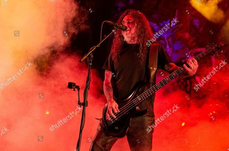 Stock Image of Slayer - Tom Araya perfroming during 'The Final Campaign' tour