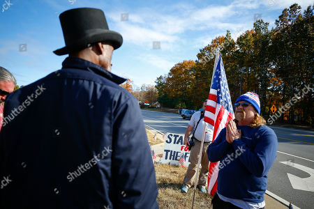 Protesters and supporters show up for a planned Colin Kaepernick workout for NFL football scouts, in Flowery Branch, Ga