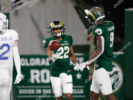 R m. Colorado State Rams wide receiver Dante Wright, left, is congratulated after catching a pass for a touchown by wide receiver Warren Jackson late in the second half of an NCAA football game against Air Force in Fort Collins, Colo. Air Force won 38-21