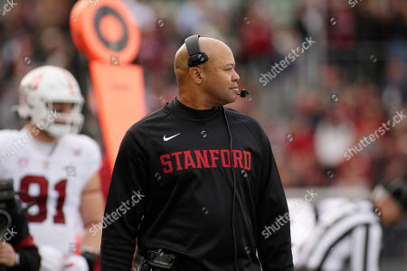 Stanford head coach David Shaw looks on during the first half of an NCAA college football game against Washington State in Pullman, Wash