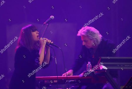 American singer-songwriter Cat Power, left, performs during the Corona Capital music festival in Mexico City