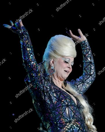 The singer Cindy Wilson, a founding member of the American new wave rock band B-52s, performs during the Corona Capital music festival in Mexico City