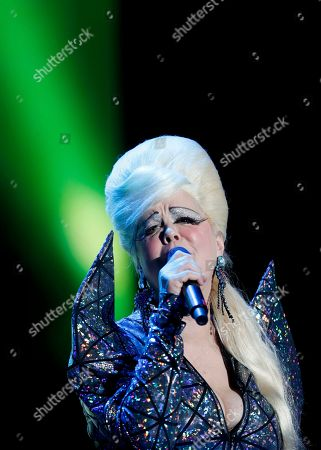 Stock Image of The singer Cindy Wilson, a founding member of the American new wave rock band B-52s, performs during the Corona Capital music festival in Mexico City