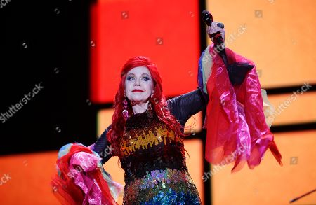 Kate Pierson of the American new wave rock band B-52s, performs during the Corona Capital music festival in Mexico City