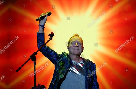 Fred Schneider of the American new wave rock band The B-52s, performs during the Corona Capital music festival in Mexico City