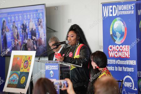 Missy Elliott speaks during Women's Entrepreneurship Day at the UN Headquarters in New York