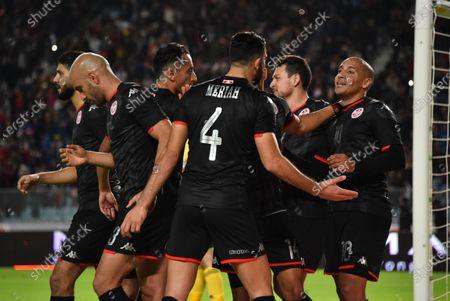 Tunisia's forward Wahbi Khazri celebrates with his team mates after scoring