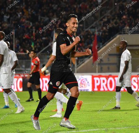 Tunisia's midfielder Saif-Eddine Khaoui celebrates after scoring a goal