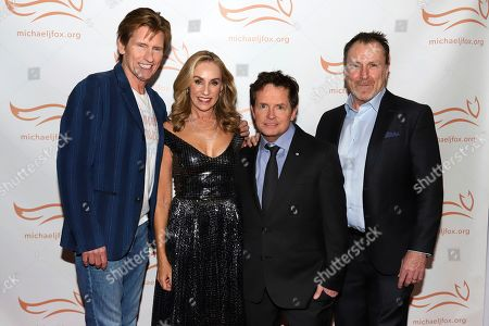 "Denis Leary, Tracy Pollan, Michael J Fox, Colin Quinn. Denis Leary, from left, Tracy Pollan, Michael J Fox and Colin Quinn attend the Michael J Fox Foundation's ""A Funny Thing Happened on the Way to Cure Parkinson's"" Gala to benefit Parkinson's research at the Hilton New York, in New York"