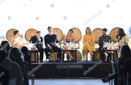 Jessica Barden, Dean-Charles Chapman, Jacob Elordi, Kelsey Chow, Liana Liberato, Mena Massoud and Nischelle Turner attend the Rising Star Showcase held at Materra Cunat Family Vineyards at the Napa Valley Film Festival, Napa, CA @NapaFilmFest #NVFF19